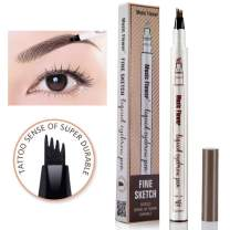 Eyebrow Tattoo Pen,Tat Brow Microblading Eyebrow Pencil Waterproof Microblade Brow Pen Make Up with a Micro-Fork Tip Applicator Creates Natural Looking Brows Effortlessly(Chestnut)