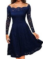 Women's Vintage Floral Lace Formal Dresses for Any Plus Size Women Boat Neck Swing Cocktail Dress