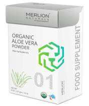 Organic Aloe Vera Powder by Merlion Naturals | Aloe barbadensis | 227gm/ 8OZ/ 1/2lb | USDA NOP Certified 100% Organic