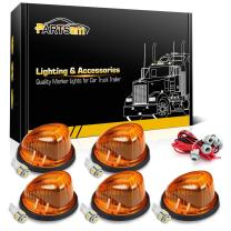 Partsam 5X 1313A Cab Marker Roof Running Round-Shape Amber Lights + 5X T10 5050-SMD White LED Bulbs + T10 Wiring Harness Compatible with Chevrolet/GMC C/K Series 1973-1987 Full Size Pickup Trucks