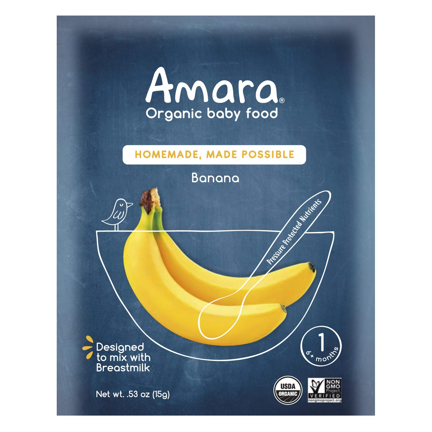 Amara Organic Baby Food | Banana | Homemade Made Possible | Mix with Breastmilk, Formula or Water | Certified Organic, Non-GMO, No Added Sugars | Stage 1 for Babies 6 Months & Older | 7 Pouches