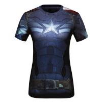 Red Plume Women's Compression Sports Short-Sleeve T-Shirt,America Team Leader2