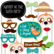 Big Dot of Happiness Let's Hang - Sloth - Baby Shower or Birthday Party Photo Booth Props Kit - 20 Count