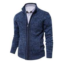 Men's Cardigan Sweater Slim Fit with Full Zip and Pockets
