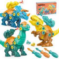 DINOTRONIC Take Apart Dinosaur Toys with Shooting for Kids 3-7, 3 Pack Dino Building Set with Screwdrivers Drill, DIY Construction Play Kit STEM Learning Gifts for 3 4 5 Year Old Boys and Girls
