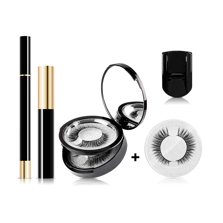 [2020 New Version] Lanvier Magic Eyelashes and Eyeliner Kit, No Glue No Magnetic 4D Silk False Eye Lashes, More Fitting than Traditional Magnetic Eyelashes – Mascara&Eyelash Curler Included (3Pair)