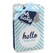 Hello Little One - Blue and Silver - Boy Baby Shower Favor Boxes - Set of 12