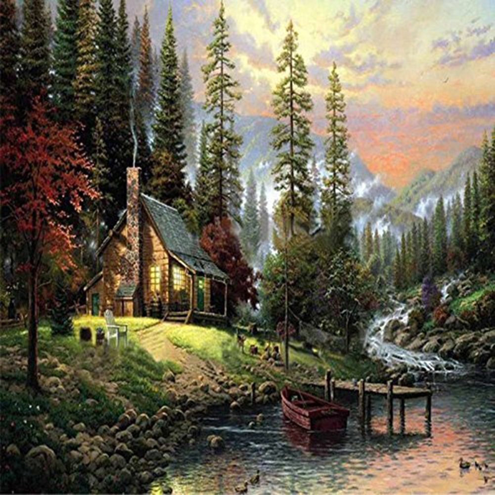 EOBROMD 5D Diamond Painting Kit, Full Drill Paint with Diamonds Embroidery Accessories for Home Wall Decor - Mountain Cabin 12 x 12inch