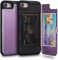 TORU CX PRO iPhone 8 Wallet Case Purple with Hidden Credit Card Holder ID Slot Hard Cover & Mirror for iPhone 8 / iPhone 7 / iPhone SE 2020 - Lavender