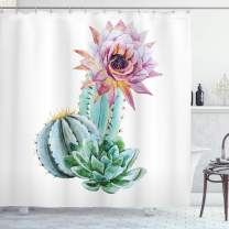 """Ambesonne Cactus Shower Curtain, Cactus Spikes Flower in Hot Mexican Desert Sand Botanical Natural Image, Cloth Fabric Bathroom Decor Set with Hooks, 75"""" Long, Pink Green"""