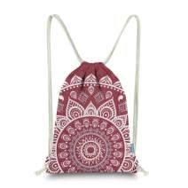 Miomao Drawstring Backpack Mandala Style String Bag Canvas Beach Sport Daypack