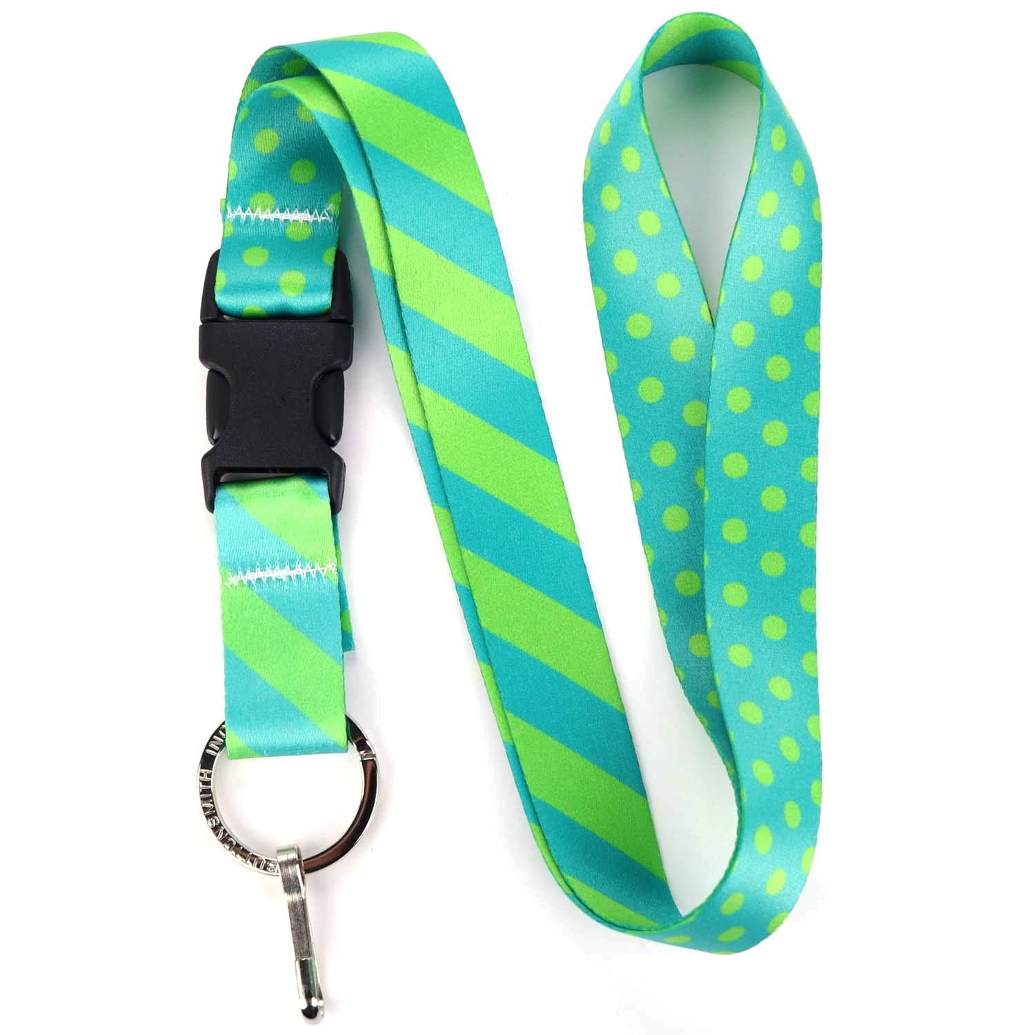 Buttonsmith Aqua Dots Premium Lanyard - with Buckle and Flat Ring - Made in The USA