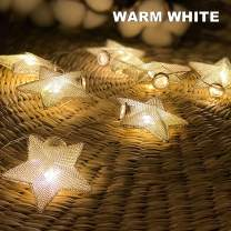 Battery Powered Fairy String Lights - Metallic Star Type 10LED (Warm White) String Lights for Christmas, Home, Garden, Wedding, Party, Room, Holiday Decor, Centerpiece, Xmas Tree Decorations
