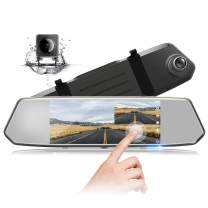 """TOGUARD Backup Camera 7"""" Mirror Dash Cam Touch Screen 1080P Rearview Front and Rear Dual Lens with Waterproof Reversing Camera"""