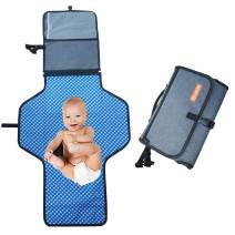 Cleycye Portable Changing Pad with Head Cushion and Pockets, Waterproof Portable Changing Mat for Moms, Dads & Babies,for Home,Travel & Outside/Use One Handed/,Gray+Detachable