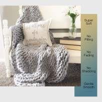 """EASTSURE Luxury Knit Chunky Throw Blanket Premium Super Soft Warm Cozy Chenille Blanket for Couch Bed Chair Grey 40""""x60"""""""