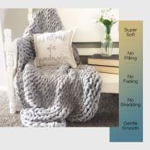 """EASTSURE Luxury Knit Chunky Throw Blanket Premium Super Soft Warm Cozy Chenille Blanket for Couch Bed Chair Grey 60""""x80"""""""