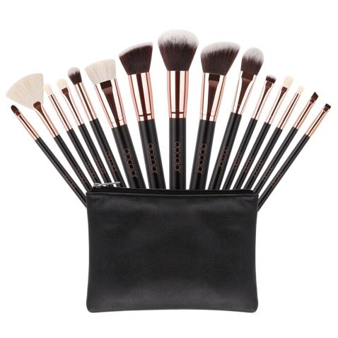 Docolor Makeup Brushes Set 15 Pieces Kabuki Makeup Brushes with Case Professional Make Up eyeshadow Brushes with a Portable Black Cosmetic Bag for Women