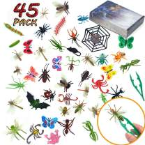 FansArriche 45 Pcs Fake Bugs Toy Mini Realistic Insects Toys for Kids, with Plastic tweezers,Educational Toy Kids, Toddlers, Boys, Girls