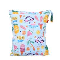 Damero Cloth Diaper Wet Dry Bag with Handle for Swimsuit, Pumping Parts, Wet Clothes and More, Ideal for Travel, Exercise, Daycare, Swimming, Reusable and Water-Resistant (Medium,Summer Style)