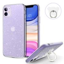 DOMAVER iPhone 11 Case with Bear Finger Ring Holder Kickstand Clear Glitter Bling Sparkly Shiny Sparkle Slim Flexible Durable Anti Slip Shockproof Protective Phone Cases Cover for iPhone 11 (6.1 Inch)
