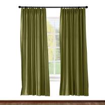 ChadMade Pinch Pleated Curtain 52W x 84L Inch Solid Thermal Insulated Blackout Patio Door Panel Drape for Traverse Rod and Track, Green (1 Panel)