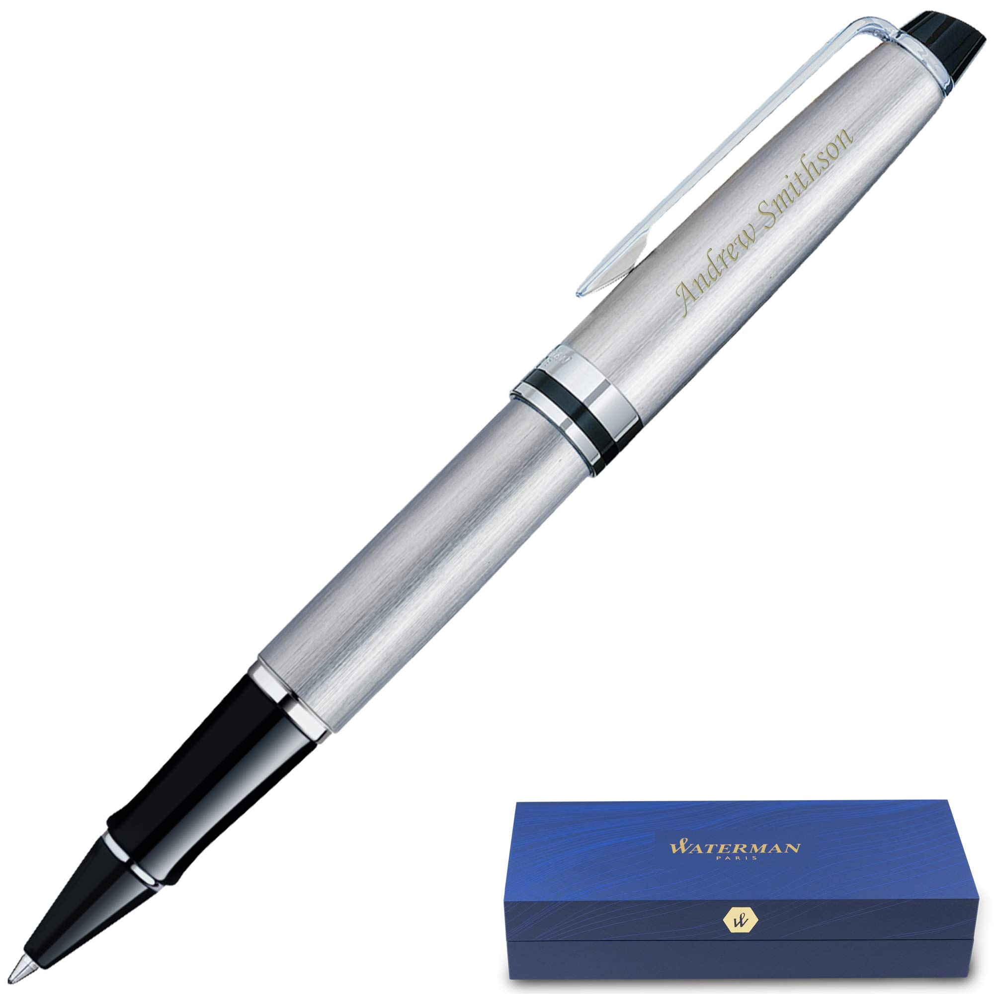 Engraved Waterman Pen   Personalized Waterman Expert Rollerball Pen - Stainless/Chrome Trim. Custom Engraved By Dayspring Pens.