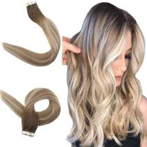 "Easyouth Skin Weft Human Hair Tape on Extensions Seamless 20"" Long Straight Balayage Color Dark Brown Fading to Ash Brown and Blonde Remy Hair Glue in Hairpiece 20pcs 50 Gram"