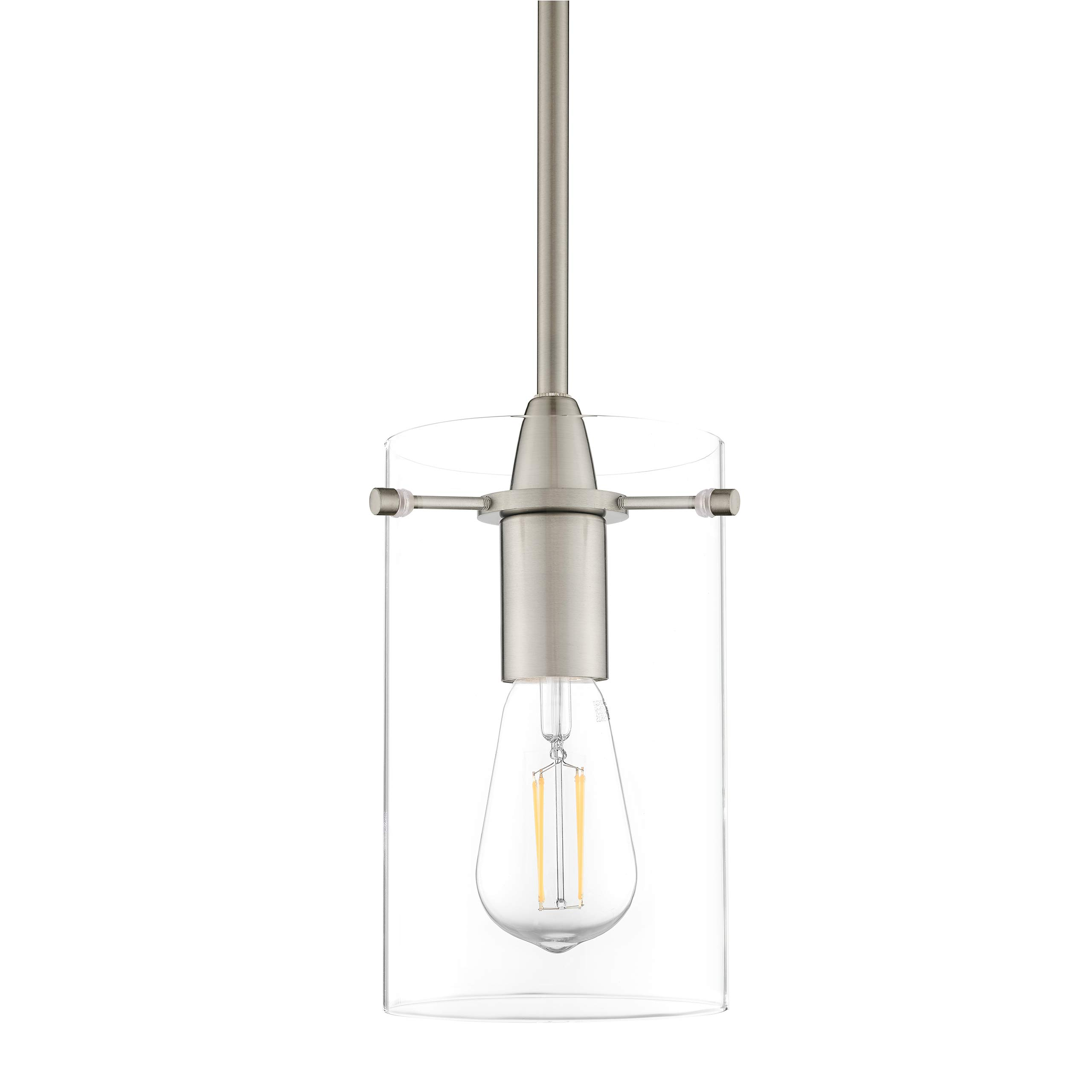 Effimero Medium Hanging Pendant Light | Brushed Nickel Kitchen Island Light, Clear Glass Shade LL-P313-BN