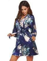 FINEJO Women Kimono Robes Lightweight with Pockets Short Robe Soft Sleepwear V-Neck Ladies Loungewear