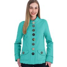 Neon Buddha Women's Cotton Jacket Female Comfortable Blazer with Exposed Seams, Mandarin Neckline and Big Buttons