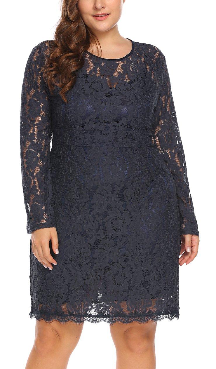 Women's Plus Size Elegant Flare Long Sleeve Lace Bodycon Cocktail Party Dresses