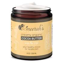 8 oz Organic Cocoa Body Butter & Coconut Oil with Aloe Vera & Vitamin E | Body Moisturizer Cream - Unscented