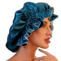 Satin Bonnet for Natural Hair Bonnets for Black Women Silk Bonnet for Curly Hair Cap for Sleeping Silk Sleep Cap Hair Bonnet(Hole Blue)