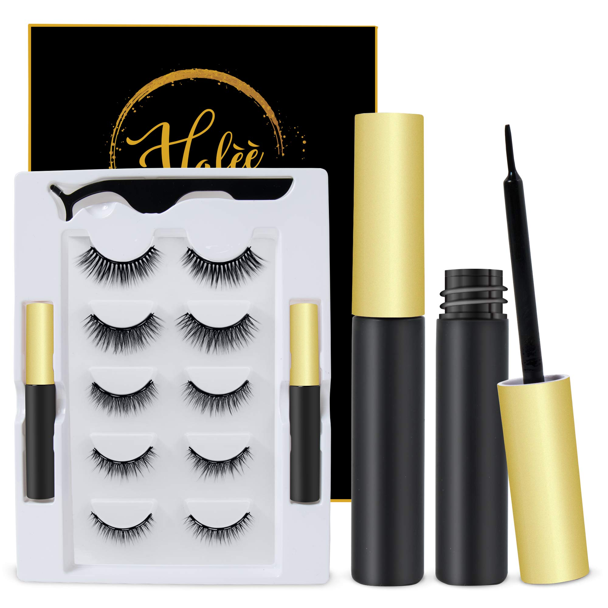 Magnetic Eyelashes Kits, Upgraded with Double Eyeliner, Reusable, Cuttable, Waterproof, 5 Pairs