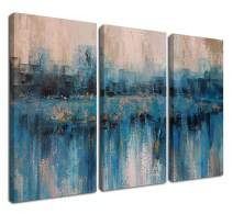 """Canvas Wall Art Prints Abstract Textured Cityscape Painting Artwork Grey Blue Tones 3 Panels/Set Large Size Framed Pictures Ready to Hang for Living Room Bedroom Office Kitchen Decorations 16""""x32""""x3"""