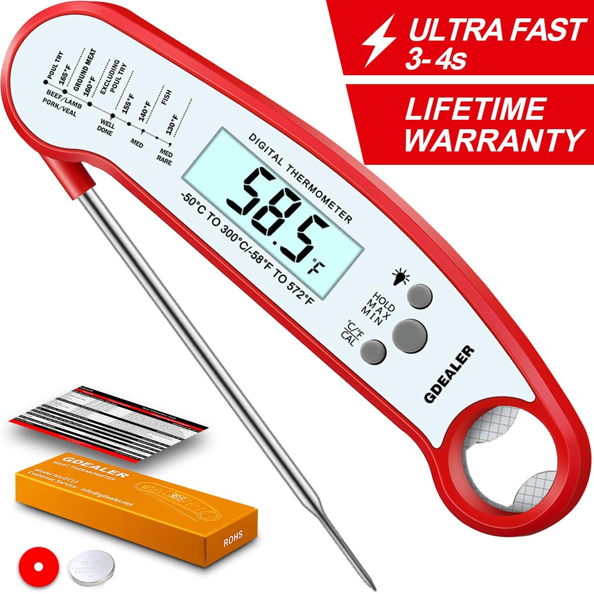 GDEALER Meat Thermometer Waterproof Digital Instant Read Food Thermometer with Bottle Opener Calibration Function Kitchen Thermometer for Cooking Food Candy, BBQ Grill, Smokers