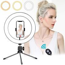 """10"""" LED Ring Light with Tripod Stand & Phone Holder,Dimmable Desk Makeup Ring Light,General/YouTube Video Live Stream/Photography/Makeup/Vlog,with 3 Light Modes & 10 Brightness Level"""