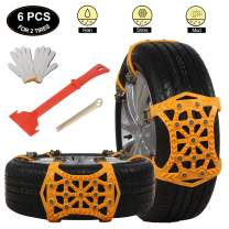 soyond Snow Tire Chains for Cars - Anti Slip Tire Straps Adjustable Universal Emergency Winter Anti-Skid Wheel Traction Chains for Cars SUV Truck ATV Set of 6 Width 165-275mm/6.4-10.9''