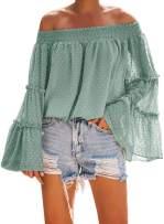 Asvivid Womens Swiss Polka Printed Smocked Off The Shoulder Tops Summer Flared Bell Sleeve Chiffon Blouses T-Shirt