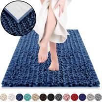 DEARTOWN Non-Slip Shaggy Bathroom Rug,Soft Microfibers Bath Mat with Water Absorbent, Machine Washable (20x32 Inches, Blue)
