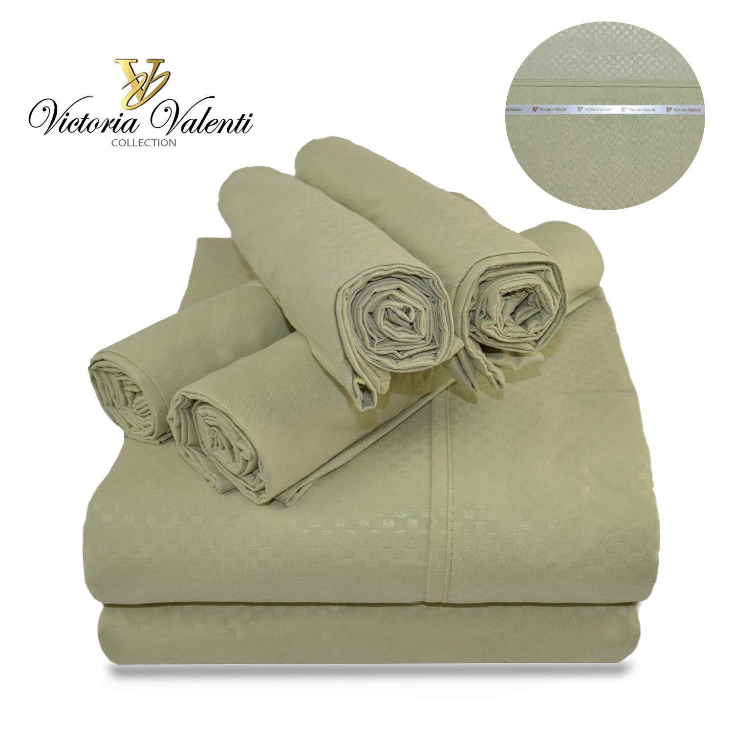 Victoria Valenti Embossed Sheet Set with 2 Pillow Cases, Double Brushed and Ultra Soft with Deep Pockets for Extra Deep Mattress, Microfiber, Hypoallergenic TW SAGE