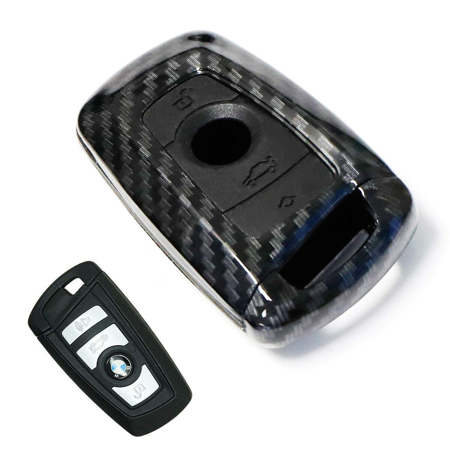 iJDMTOY (1) Carbon Fiber Pattern Smart Key Fob Shell w/Black Silicone Key Button Skin Compatible With BMW 2 3 4 5 6 7 Series X1 X2 X3 X4 (Fit Most Fxx Chassis BMWs)