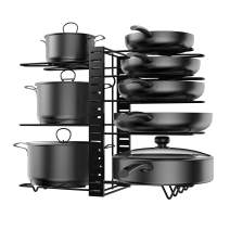 KLEVERISE Pot and Pan Storage Rack Organizers Adjustable Height Tiers Frying Pan and Pot Lid Holder and Rack Organizers Durable Sturdy Steel Construction Space Saving Kitchen Cookware Storage 8 Layers