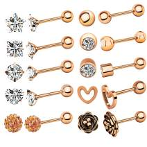 TOPBRIGHT 10 Pairs 16G Stainless Steel Ball Stud Earrings Barbell Cartilage Helix Ear Tragus Piercing for Women Girls
