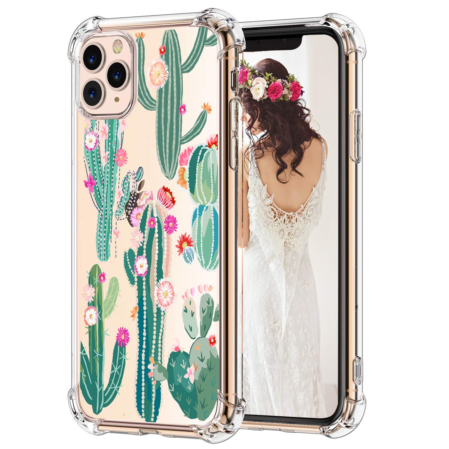 """Hepix Cactus iPhone 11 Pro Max Case Cacti Flowers Pattern Clear 11 Pro Max Cases for Girls, Slim Soft Flexible TPU Frame with Protective Bumpers Anti-Scratch Shockroof for iPhone 11 Pro Max 6.5"""""""