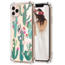 Hepix Cactus iPhone 11 Pro Max Case Cacti Flowers Pattern Clear 11 Pro Max Cases for Girls, Slim Soft Flexible TPU Frame with Protective Bumpers Anti-Scratch Shockroof for iPhone 11 Pro Max 6.5""