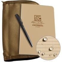 "Rite in the Rain Weatherproof Bound Book Kit: Tan CORDURA Fabric, 4 5/8"" x 7 1/4"" Tan Notebook, and Weatherproof Pen (No. 974T-KIT)"
