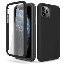 DONWELL Compatible iPhone 11 Pro Max Case Hybrid Full Body Case with Built-in Screen Protector Shockproof Case Cover Compatible with iPhone 11 Pro Max/iPhone XI Max 6.5 inch 2019 (Black)