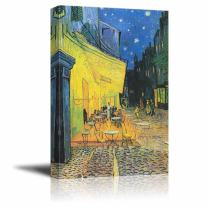 """wall26 - Canvas Print Wall Art - Cafe by Vincent Van Gogh Reproduction on Canvas Stretched Gallery Wrap. Ready to Hang - 24""""x36"""""""
